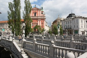 Ljubljana Triple Bridge and Franciscan Church Photo Ed Sluimer 2015